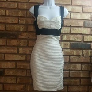 Black and White Rouched Dress
